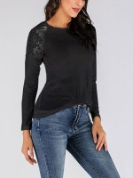 Effortless Black Sequins Shirt Full Sleeve Round Collar Smooth