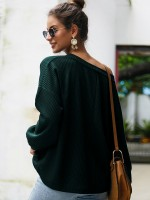 Loose Blackish Green Solid Color Drop Shoulder Shirt Delightful Garment