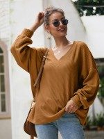 Homelike Yellow Shirt Rounded Hem Solid Color Casual Fashion