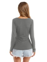 Incredible Gray Long Sleeves Shirt Cross Slit Hem Women's Essentials