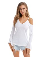 Pretty White Sling Large Size Top Flare Sleeves Elasticity