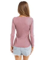 Alluring Pink Round Neck Plain Shirt Long Sleeves Supper Breath