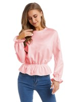 Dishy Pink Poet Sleeve Shirt Plain Long Sleeves Seamless