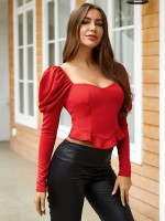 Professional Red Puff Sleeves Sweetheart Neck Shirt Ultra Hot