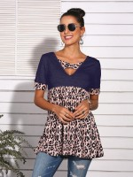 Flexible Purplish Blue Short Sleeves T-Shirt Cross Straps Loose