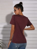Ultra Contemporary Wine Red Cross Straps T-Shirt Leopard Splicing