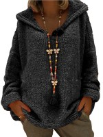 Bewitching Black Queen Size Sweater Hooded Collar Female Fashion