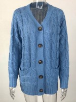 Dazzles Blue Button Down Cargdigan Knit Pockets Weekend Time