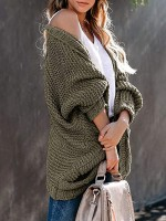 Army Green Batwing Sleeves Knit Cardigan Open Front Womens Designer Clothing