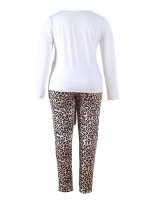 Royal Round Collar Top Leopard Print Pants Womens Apparel