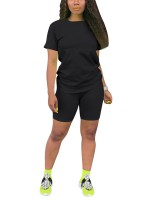 Particularly Black Plus Size Sports Suit Short-Sleeves Cheap