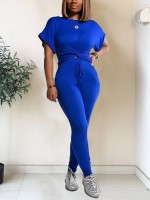 Dishy Royal Blue Short Sleeve Top High Waist Pants Wholesale Online