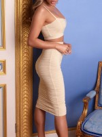 Enticing Khaki Solid Color Tank High Waist Skirt Sexy Fashion