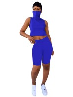 Endearing Royal Blue Cropped Top High Waist Leggings Women Outfits