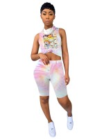Exotic Paradise Cartoon Print Top Tie-Dyed Shorts Elasticity