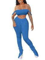 Dramatic Blue Split Stacked Leggings Off Shoulder Top Leisure