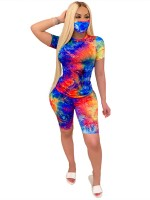 Good-Looking Tie-Dyed Women Suit Short Sleeve Women's Essentials