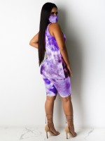 Ravishing Purple Hip Length Vest High Rise Leggings High Elasticity