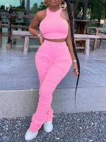 Interesting Pink Round Collar Top Drawstring Pants Trend For Women