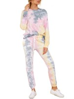 Pink Drawstring Waist Pants Tie-Dyed Top Set Fast Shipping
