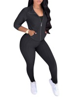 Black Sweat Suit Jacquard Weave Solid Color Fashion Ideas