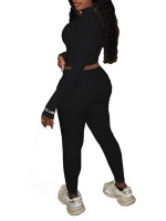 Black Zipper Thumbhole Cropped 2 Piece Outfits Comfort Fashion