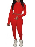 Red Zipper Stand Neck Cropped 2 Piece Outfits Women Fashion Style