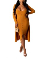 Brown Sling Split Hem Cardigan Dress Outfits Newest Fashion