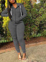 Deep Gray Zipper Hoodie 2 Piece Outfit With Pocket Free Time