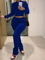 Deep Blue Drawstring Two Piece Outfit High Waist Fashion Essential