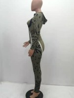 Blackish Green Camouflage Zip Neckline Two Piece Outfit Comfort