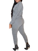 Gray Long Sleeve Top Elastic Waist Pants Casual Wear
