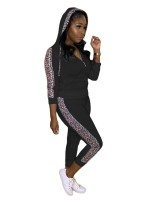 Black Leopard Patchwork Hood Two Piece Outfit Stretchy