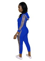 Blue Zipper 2 Piece Outfit Leopard Patchwork Going Out Outfits
