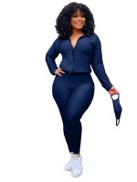 Dark Blue Side Pockets Large Size Women Suit Ultra Cool