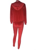 Red Plus Size Hooded Neck Three Piece Outfit Distinctive Look
