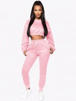 Sweat Suit Pink Side Pockets Solid Color Casual Fashion