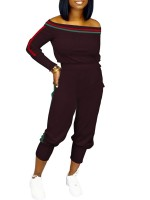 Enchanting Wine Red Off Shoulder Two-Piece Full Length Garment