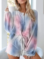 Dainty Cute Tie-Dye Pajamas Drawstring Pleated Heartbreaker