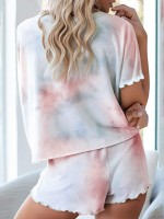 Cute Crew Neck Tie-Dyed Pajamas Drawstring All Over Modern Fit