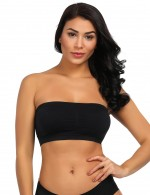 Bold Black Removable Pads Seamless Bandeau 2 Layers All Over Smooth