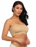 Sweet Girl Nude Cotton Double Layers Solid Padded Bandeau Tops Skinny Girl