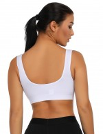 Daring White V Neck Queen Size Sport Bras Widened Hem For Women Fashion