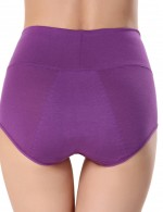 Comfortable Purple Solid Color Physiological Panties Leakproof Allover Slim Fit