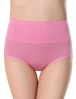 Enticing Watermelon Red High Waist Menstrual Panties Plain Slim Ladies