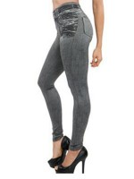 Woman's Fashion High Waist Jeans-Like Legging Fake Pocket