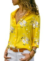 Affordable Yellow Long Sleeve Staple Collar Blouse For Ladies