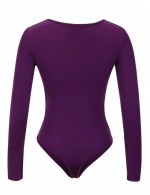 Effective Purple Front Zipper Long Sleeved Bodysuit Large Size Womens Fashion Online Shopping