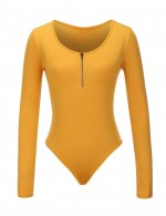 Feminine Yellow Plus Size Bodysuit Scoop Collar Snap Button Quality Assured