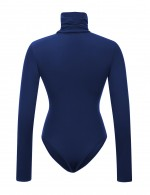 Smooth Dark Blue Solid Color High Cut Bodysuit High Neck Wedding Trip